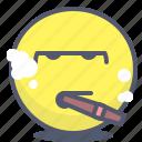 emoji, emotion, face, smile, smoke