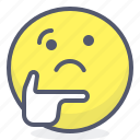 emoji, emotion, face, smile, thinker