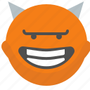 devil, emoji, emotion, face, smile