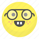 emoji, emotion, face, nerd, smile icon