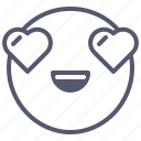 emoji, emotion, face, hearts, smile icon