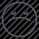 emoji, emotion, face, sad, smile icon