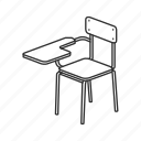 chair, desk, education, furniture, school, school chair, seat icon