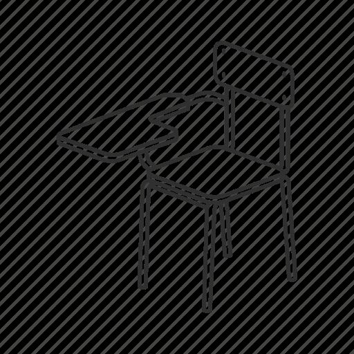 chair, desk, education, furniture, school, school chair, seat icon