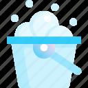 bubble, bucket, clean, detergent, pitcher