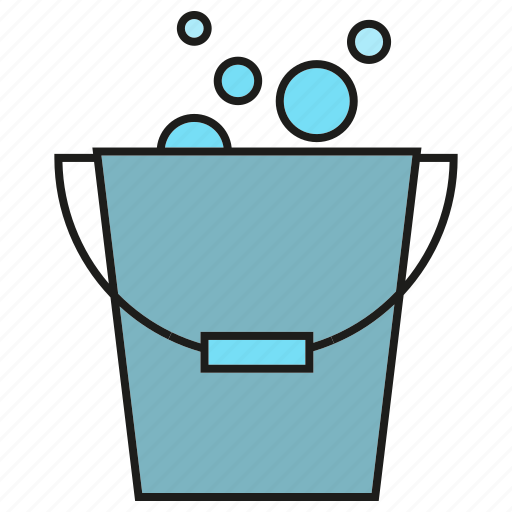 bubble, bucket, cleaning, container, wash, water icon