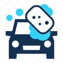 bubble, car, cleaning, lather, sponge, vehicle, wash icon