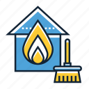 cleaning, damage, fire icon