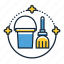 bucket, janitor, mop icon