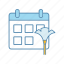 calendar, cleaning, date, day, housekeeping, housework, schedule icon