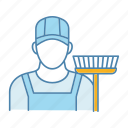 clean, cleaner, job, labour, person, sweeper, work icon