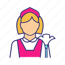 chambermaid, clean, cleaning, housemaid, maid, parlourmaid, woman icon