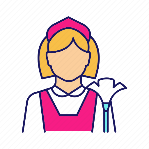 Chambermaid, clean, cleaning, housemaid, maid, parlourmaid, woman icon - Download on Iconfinder