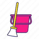 broom, brush, bucket, cleaning, dust, floor, sweep