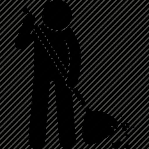 broom, broomstick, floor, man, person, sweeping icon
