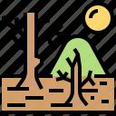 crisis, dead, desert, drought, tree icon