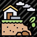 dangerous, disaster, house, landslide, rockfall icon
