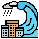 catastrophe, disaster, natural, tsunami, wave icon