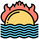 heat, ocean, sunset, warming, wave