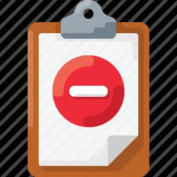 clipboard, delete, doc, minus, remove icon