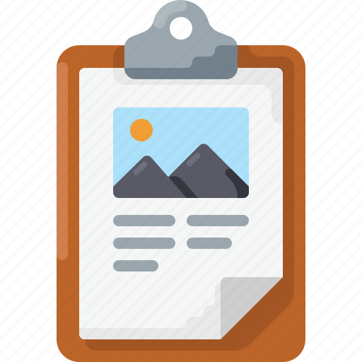 clipboard, image, picture, presentation, text icon