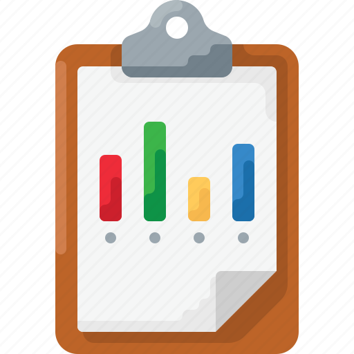 analytics, business, chart, clipboard, graph icon