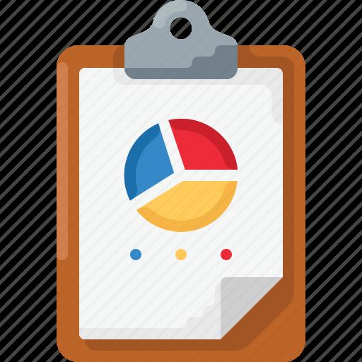 analytics, chart, clipboard, pie, piechart icon