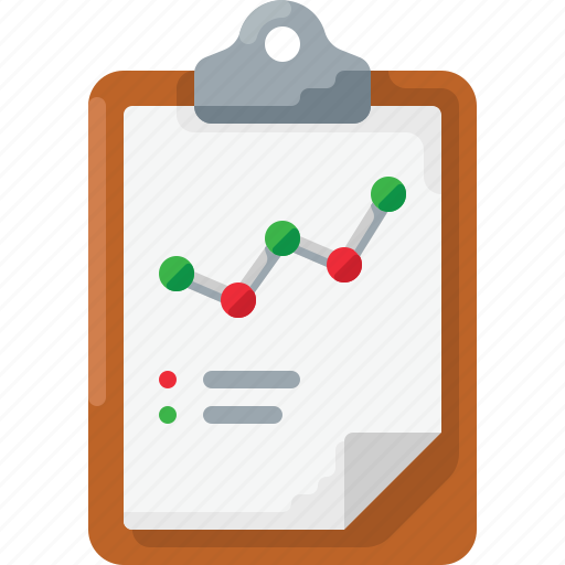 analytics, business, chart, clipboard icon