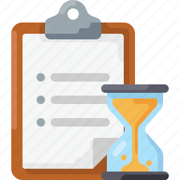 checklist, clipboard, doc, hourglass, list, time, to do icon