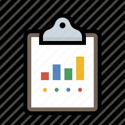 analytics, bar, chart, clipboard icon