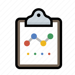analytics, chart, clipboard, line icon