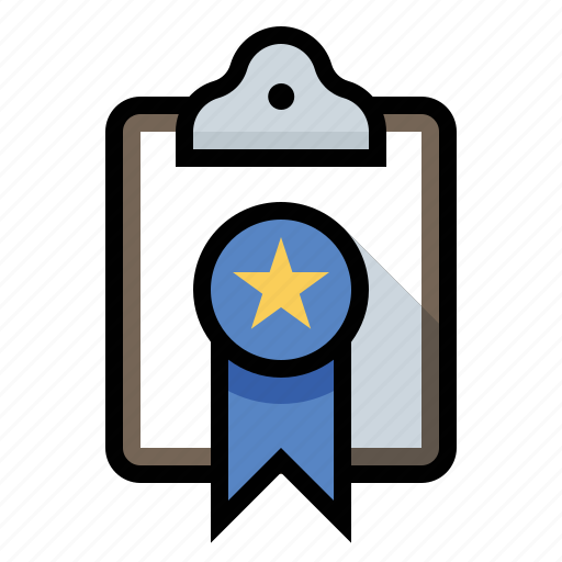 award, clipboard, ribbon icon