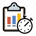 bar, chart, clipboard, stopwatch icon