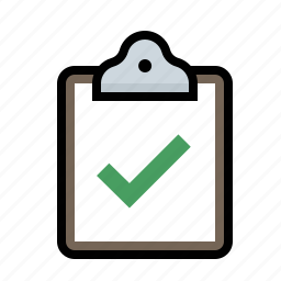 checkmark, clipboard icon
