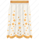 clothes, clothing, female, garment, long skirt, skirt icon