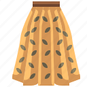 clothes, clothing, fashion, female, garment, long skirt, skirt icon