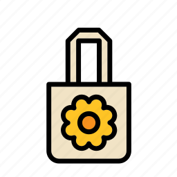accessory, bag, clothes, clothing, flower, garment icon