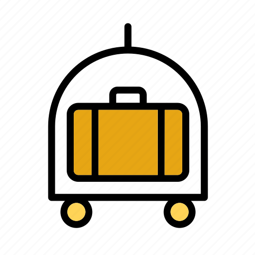 accessory, cart, hotel, luggage, suitcase, travel, trolley icon