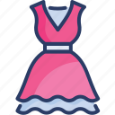 clothing, frock, garments, gown, ladies, party dress, woman icon