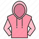 apparel, cloth, fashion, garment, hood, style, sweater icon