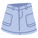 clothes, clothing, denim, garment, skirt, style, wear icon
