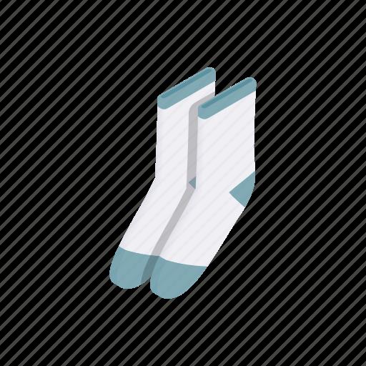 cloth, clothing, cotton, isometric, pair, sock, sport icon