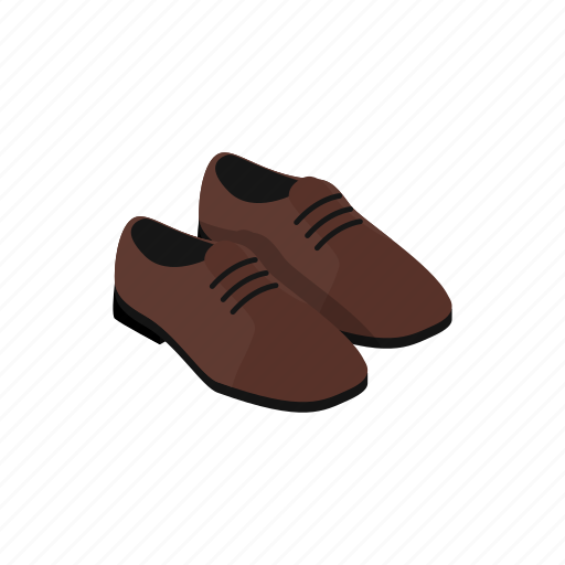 brown, fashion, isometric, leather, men, shiny, shoe icon