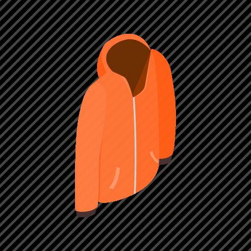 cloth, clothing, front, isometric, men, orange, sweatshirt icon