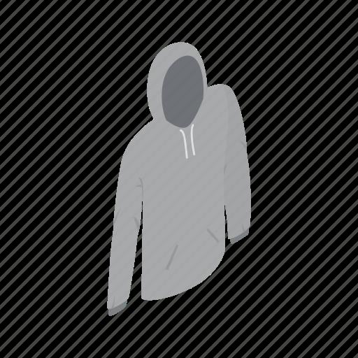 cloth, clothing, front, grey, isometric, men, sweatshirt icon