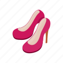 elegant, footwear, heel, isometric, leather, pair, shoe icon