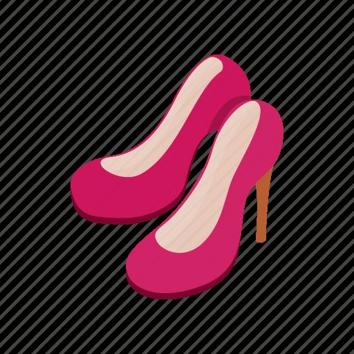 elegant, footwear, heel, isometric, leather, pair, shoe icon