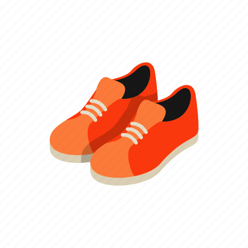 footwear, isometric, orange, pair, shoe, sneaker, sport icon