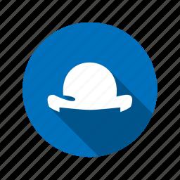 bowler, hat, headdress, headgear, headwear icon
