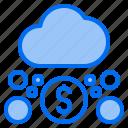 cloud, dollar, mark, rain, sunny, time, windy icon